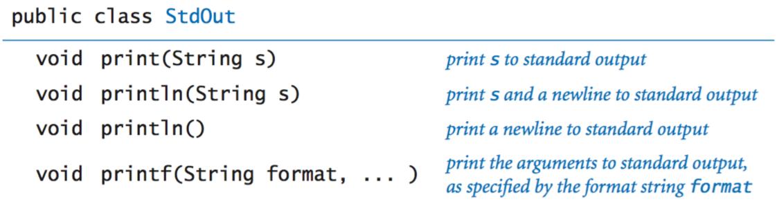 Standard output API